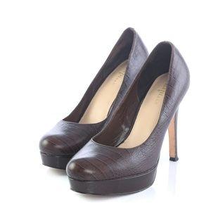 Cole Haan Croc Print Leather Platform Pumps Heels
